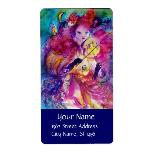 MASQUERADE NIGHT Carnival Musician in Pink Costume Shipping Labels