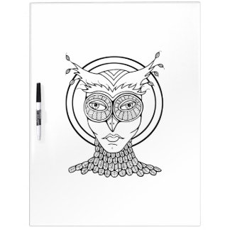 Masquerade Owl Adult Coloring Dry-Erase Board