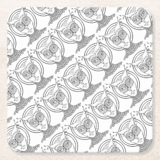 Masquerade Owl Line Art Design Square Paper Coaster