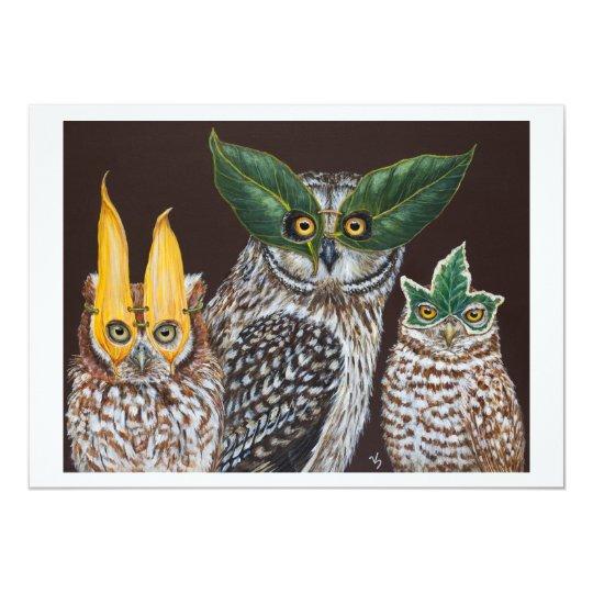 Masquerade owls flat card