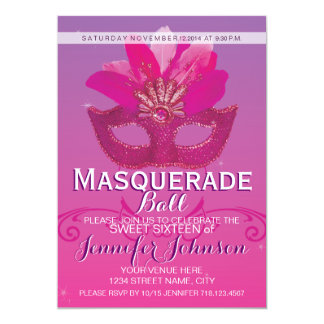 """Masquerade Party Ball Sweet 16 Pink Purple 5"""" X 7"""" Invitation Card"""