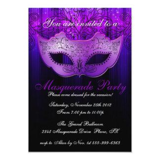 Masquerade Party Celebration Blue & Purple Invite