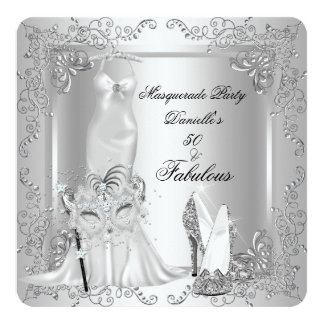 """Masquerade Party Fabulous 50 Birthday Silver 2 5.25"""" Square Invitation Card"""