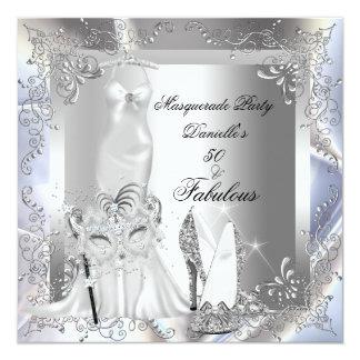"""Masquerade Party Fabulous 50 Birthday Silver 5.25"""" Square Invitation Card"""