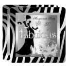 Masquerade Party Fabulous 50 Zebra Silver Black Card