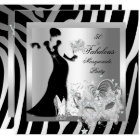 Masquerade Party Fabulous 50 Zebra Silver Card