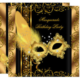 Masquerade Party Gold Black Yellow Mask 6 Card