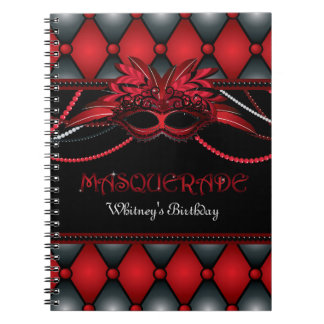 Masquerade Party Guest Book Spiral Note Book