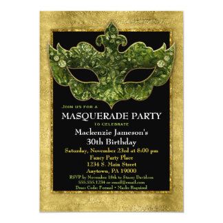 Masquerade Party Invitation Gold Green Birthday
