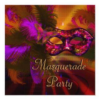 Masquerade Party Mask Black Purple Red Mardi Gras Card