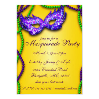 Masquerade Party Purple Mask Invitations