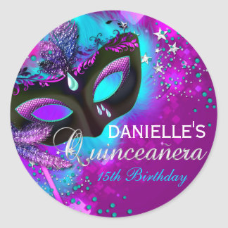 Masquerade Pink Teal Quinceanera Sticker