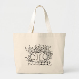 Masquerade Pumpkin Scene Line Art Design Large Tote Bag