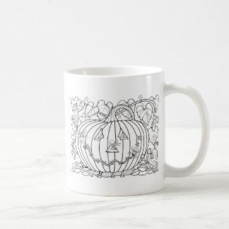 Masquerade Pumpkin Spiders Line Art Design Coffee Mug