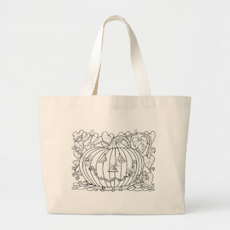 Masquerade Pumpkin Spiders Line Art Design Large Tote Bag