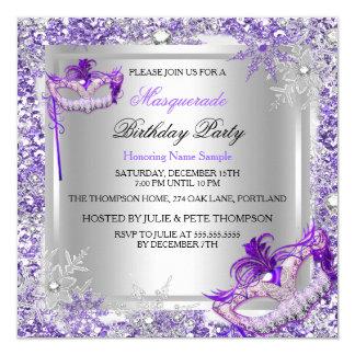 """Masquerade Purple Silver Snowflakes Masks Party 5.25"""" Square Invitation Card"""