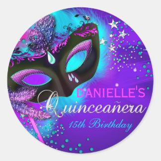 Masquerade Purple Teal Quinceanera Sticker