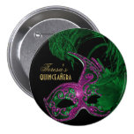Masquerade quinceañera birthday green, pink mask pinback buttons