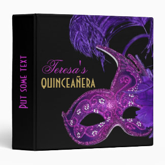 Masquerade quinceañera birthday pink, purple mask vinyl binders