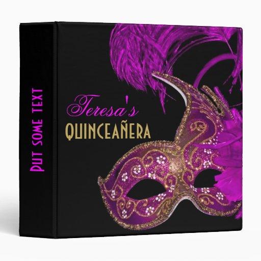 Masquerade quinceañera fifteenth birthday purple vinyl binder