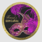 Masquerade quinceañera fifteenth birthday purple classic round sticker