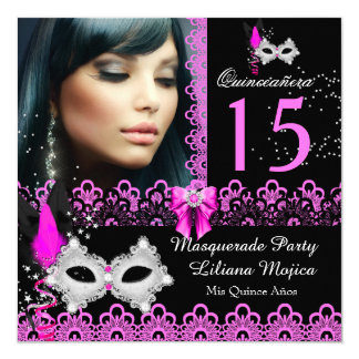 """Masquerade Quinceanera Party Hot Pink Lace 5.25"""" Square Invitation Card"""