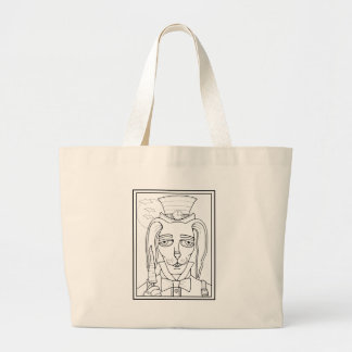Masquerade Rabbit Carrot Lollipop Line Art Design. Large Tote Bag