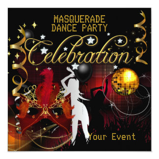 MASQUERADE Red Gold Dance Party Disco Ball Card