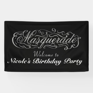 MASQUERADE Silver & Any Color Birthday Party Banner