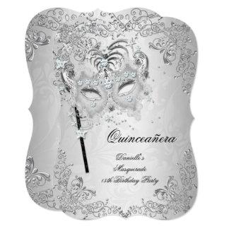 Masquerade Silver Quinceanera 15th Birthday Card