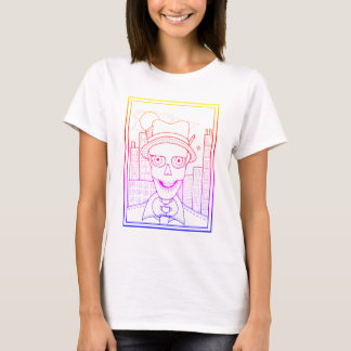 Masquerade Skeleton Reporter Line Art Design T-Shirt