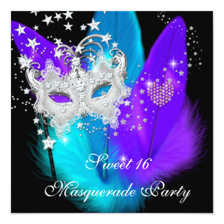 """Masquerade Sweet 16 Purple Teal Black Feather Mask 5.25"""" Square Invitation Card"""
