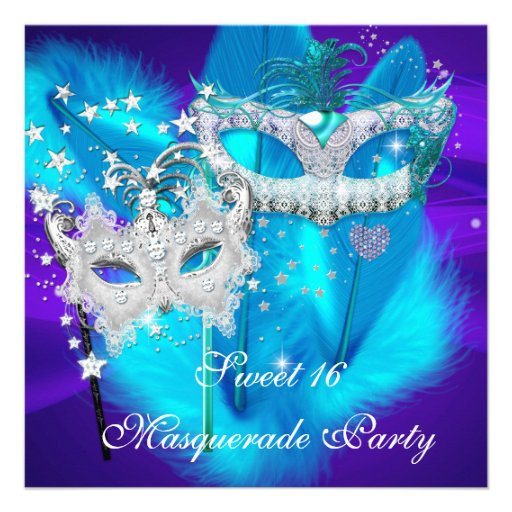 Masquerade Sweet 16 Purple Teal Blue Mask Personalized Invitations