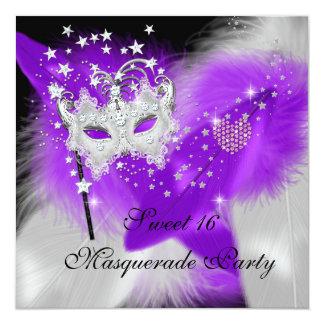 "Masquerade Sweet 16 Purple White Feather Mask 5.25"" Square Invitation Card"