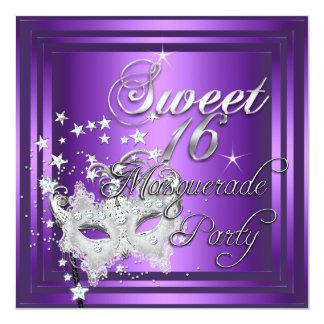 Masquerade Sweet 16 Sixteen Birthday Purple White 5.25x5.25 Square Paper Invitation Card