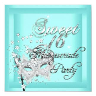 Masquerade Sweet 16 Sixteen Birthday Teal White Personalized Invitation