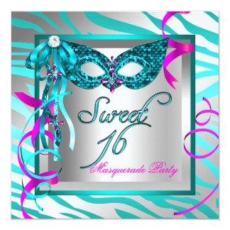 "Masquerade Sweet 16 Sixteen Teal Blue Zebra 5.25"" Square Invitation Card"
