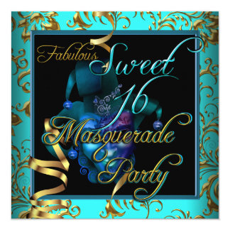 """Masquerade Sweet 16 Sweet Sixteen Gold Blue 5.25"""" Square Invitation Card"""
