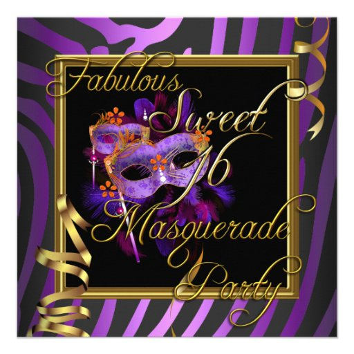Masquerade Sweet 16 Sweet Sixteen Gold Purple Custom Invites