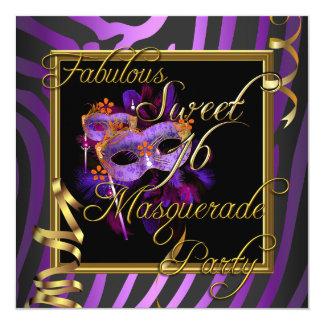 "Masquerade Sweet 16 Sweet Sixteen Gold Purple 5.25"" Square Invitation Card"