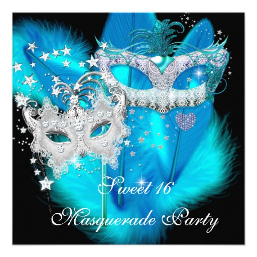 Masquerade Sweet 16 Teal Blue Feather Mask 2 Announcement