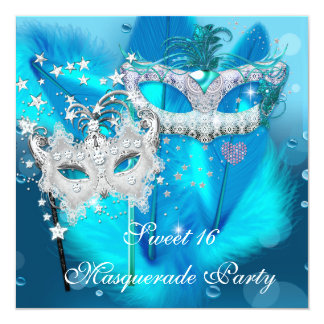"""Masquerade Sweet 16 Teal Blue Feather Mask 3 5.25"""" Square Invitation Card"""