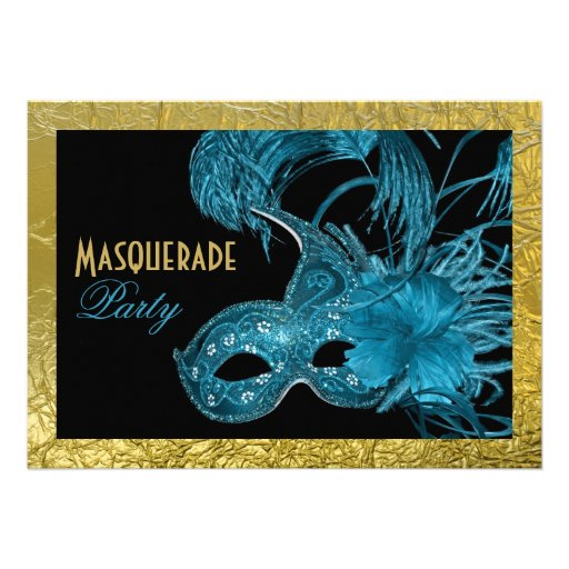 Masquerade Sweet Sixteen party blue, gold foil Invitation