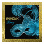 Masquerade Sweet Sixteen party blue, gold foil Invites
