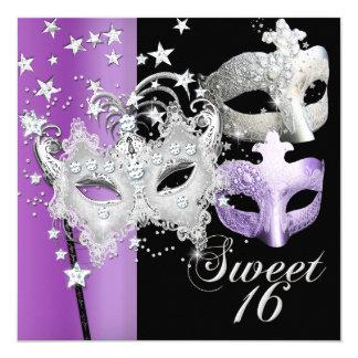 "Masquerade Sweet Sixteen Sweet 16 Lilac Black 5.25"" Square Invitation Card"
