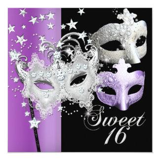 Masquerade Sweet Sixteen Sweet 16 Lilac Black 5.25x5.25 Square Paper Invitation Card