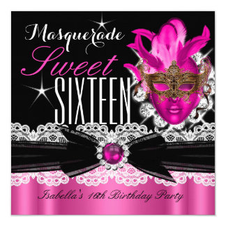 Masquerade Sweet Sixteen Sweet 16 Pink 2 Personalized Announcement