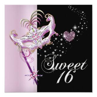 "Masquerade Sweet Sixteen Sweet 16 Pink Black 5.25"" Square Invitation Card"