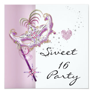 """Masquerade Sweet Sixteen Sweet 16 Pink White 5.25"""" Square Invitation Card"""