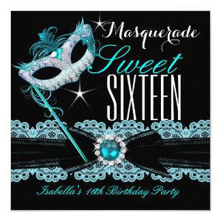 """Masquerade Sweet Sixteen Sweet 16 Teal Blue 2 5.25"""" Square Invitation Card"""